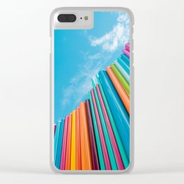 Colorful Rainbow Pipes Against Blue Sky Clear iPhone Case