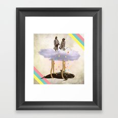 couple who travels on a cloud with a whale  Framed Art Print