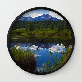 Pyramid Mountain as seen from Cottonwood Slough in Jasper National Park, Canada Wall Clock