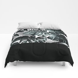Palm Leaves and Black Comforters