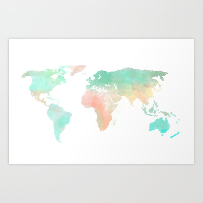 Watercolor world map art print by sunkissedlaughter society6 watercolor world map art print gumiabroncs Image collections