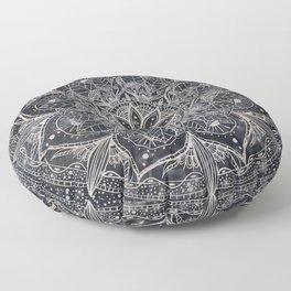 Trendy Silver Floral Mandala Blue Marble Design Floor Pillow