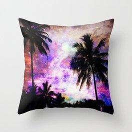 Nebula Palm Trees Throw Pillow