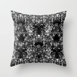 Snakes & Skulls : Gothic Monochrome Throw Pillow