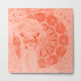 Ghostly alpaca and mandala in Fiesta Red Metal Print