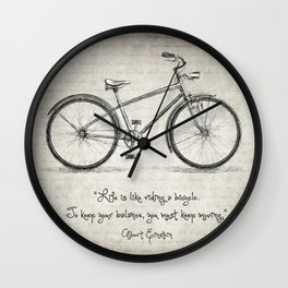 Albert Einstein Bicycle Quote Wall Clock