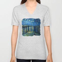 Starry Night Over The Rhone - Van Gogh Unisex V-Neck