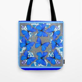 Decorative Blue Shades Butterfly Grey Pattern Art Tote Bag