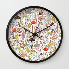 Colorful Autumn woodland animals and foliage pattern Wall Clock