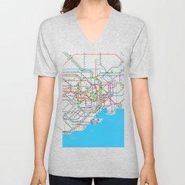 Tokyo Subway map Unisex V-Neck