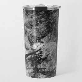 black white gray paint in monotype technique, abstract texture background for your design Imitation Travel Mug