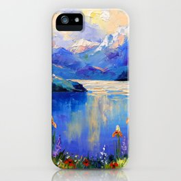 Flowers on the shore of a mountain lake iPhone Case