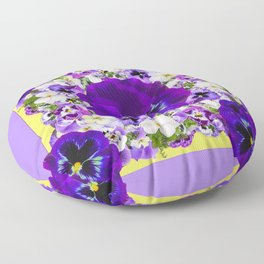 PURPLE PANSIES GARDEN LILAC ART Floor Pillow