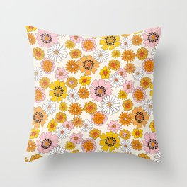 Groovy Floral - pink, yellow, orange florals - retro floral print Throw Pillow