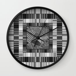 Abstract pattern . Patchwork striped . Wall Clock