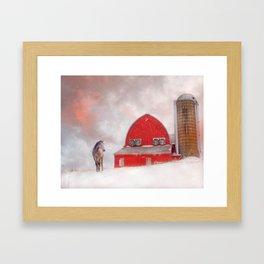 Horse And Barn in Winter Framed Art Print