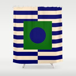 GEOMETRY BLUE&GREEN V Shower Curtain