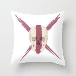Skull with bloody streak on his face Throw Pillow