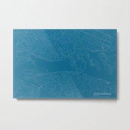 Stockholm, Sweden, city map, Blueprint design, landscape format Metal Print