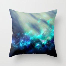 Abstract Nebula #3: Light Green Throw Pillow