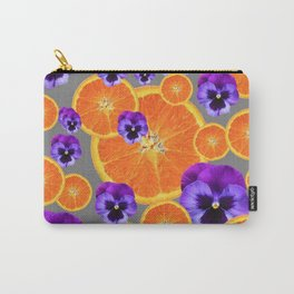 ORANGE SLICES & PURPLE PANSIES MODERN ART Carry-All Pouch