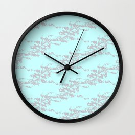 Cedar Waxwings in a Pear Tree with Nest - Mint and Silver Wall Clock