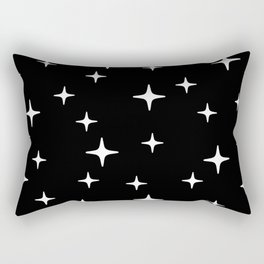 Mid Century Modern Star Pattern 443 Black and White Rectangular Pillow