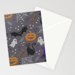 Halloween party symbols grey embroidery print Stationery Cards