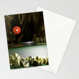 3d Modeling Cave Lake with Red Sun Stationery Cards