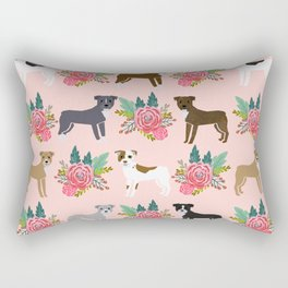 Pitbull Terrier flowers cute dog art pet portraits custom dog breed must have pitbull owner gifts Rectangular Pillow