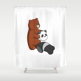 Hey Bear Grizzly Pulls Off Panda Bear Head Shower Curtain