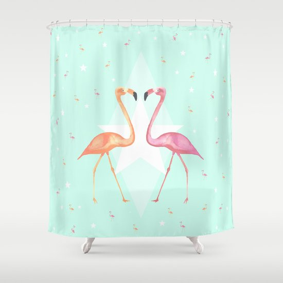 FLaMINGoS Shower Curtain By Monika Strigel