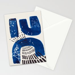 Fun Mid Century Modern Abstract Minimalist Vintage Navy Blue Brush Strokes Minimal Shapes Stationery Cards