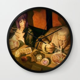 digital artwork Ghost in the Shell androids eating Asian Kusanagi Motoko manga movie characters anime Wojtek Fus Batou high angle Wall Clock