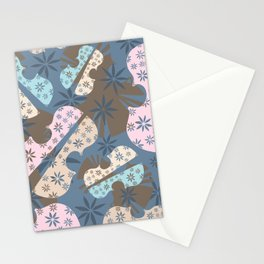 Flower Cello Violin Viola Pattern in blues and pinks Stationery Cards