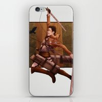 attack on titan iPhone & iPod Skins featuring Haikyuu!! Attack on Titan Crossover: Nishinoya by JBadgr
