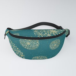 Snowflakes Teal And Golden #society6 #buyart Fanny Pack
