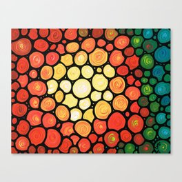 Sunburst -Bright colorful sun by Labor of Love artist Sharon Cummings. Canvas Print