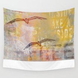Free bird mixed media artwork Sea Gulls and Typography Wall Tapestry
