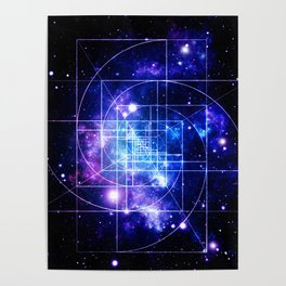 Galaxy sacred geometry Golden Mean Deep Blue Poster