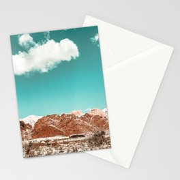 Vintage Red Rocks // Snow in the Mojave Desert Clouds Teal Sky Mountain Range Landscape Stationery Cards