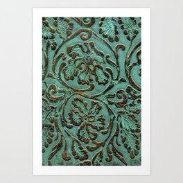 Aqua Flowers Tooled Leather Kunstdrucke
