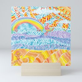 Sea beach with a rainbow and shells - abstract doodle colorful landscape Mini Art Print