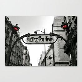Paris Art Nouveau Metro - Metropolitan Subway Station Sign black and white photograph Canvas Print