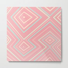 Pink, Green, Yellow, and Peach Lines - Illusion Metal Print