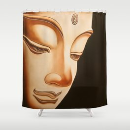 Tranquil oil painting of a peaceful Buddha  Shower Curtain