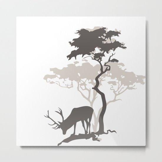 Deer Under Tree No. 2 Metal Print
