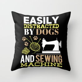 Funny Sewer Sewing Machine & Dog Lover Gift Throw Pillow