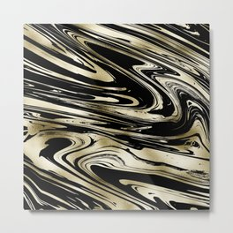Chic modern abstract black gold stylish marble Metal Print