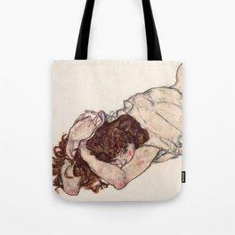 Kneeling Girl, Resting on Both Elbows Tote Bag